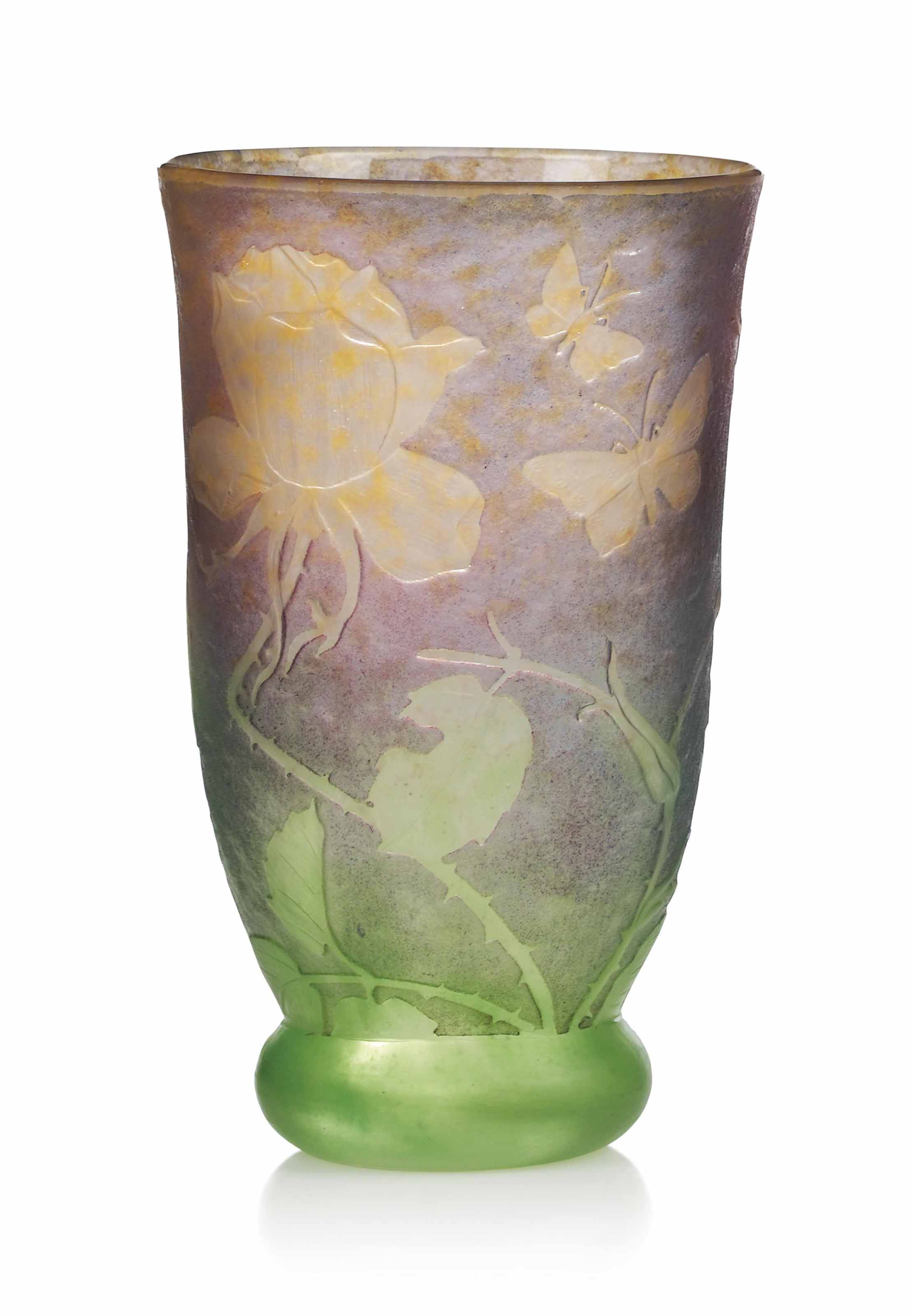 A DAUM WHEEL-CARVED GLASS VASE