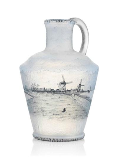 A DAUM ENAMELLED GLASS 'PAYSAG