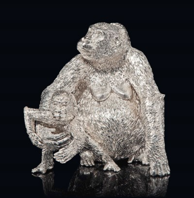 AN AFRICAN SILVER MODEL OF A F