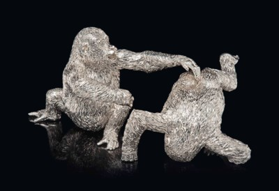 A PAIR OF AFRICAN SILVER ADOLE