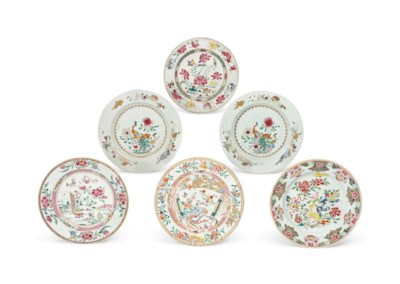 SIX CHINESE FAMILLE ROSE PLATE