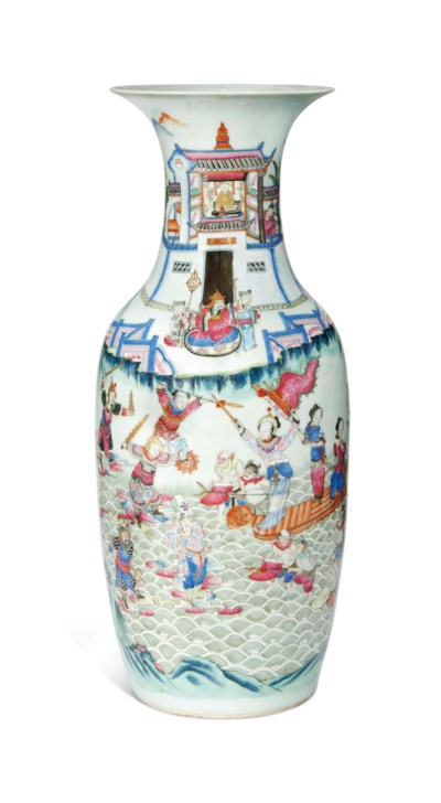 A CANTONESE FAMILLE ROSE VASE