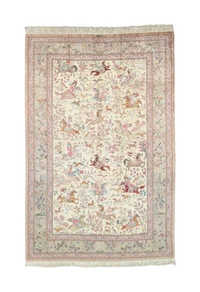 A very fine silk Qum carpet of