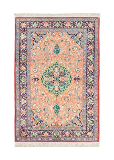 An extremely fine silk rug in