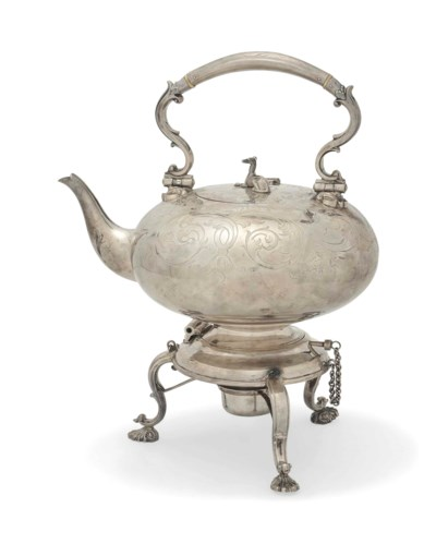 A VICTORIAN SILVER KETTLE AND