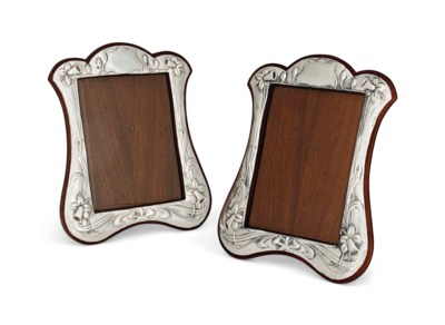 A PAIR OF SILVER AND MAHOGANY