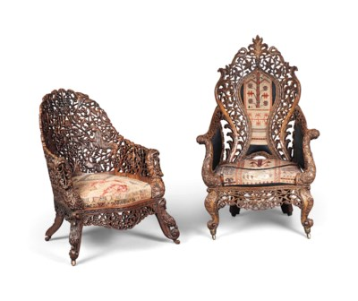 TWO ANGLO-INDIAN TEAK ARMCHAIR