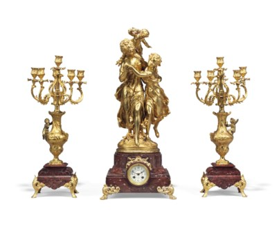 A FRENCH GILT SPELTER AND ROUG