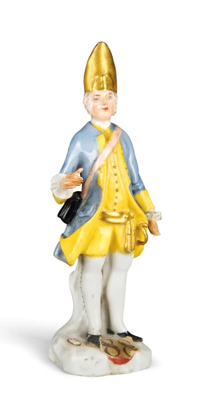 A SMALL MEISSEN FIGURE OF A SA