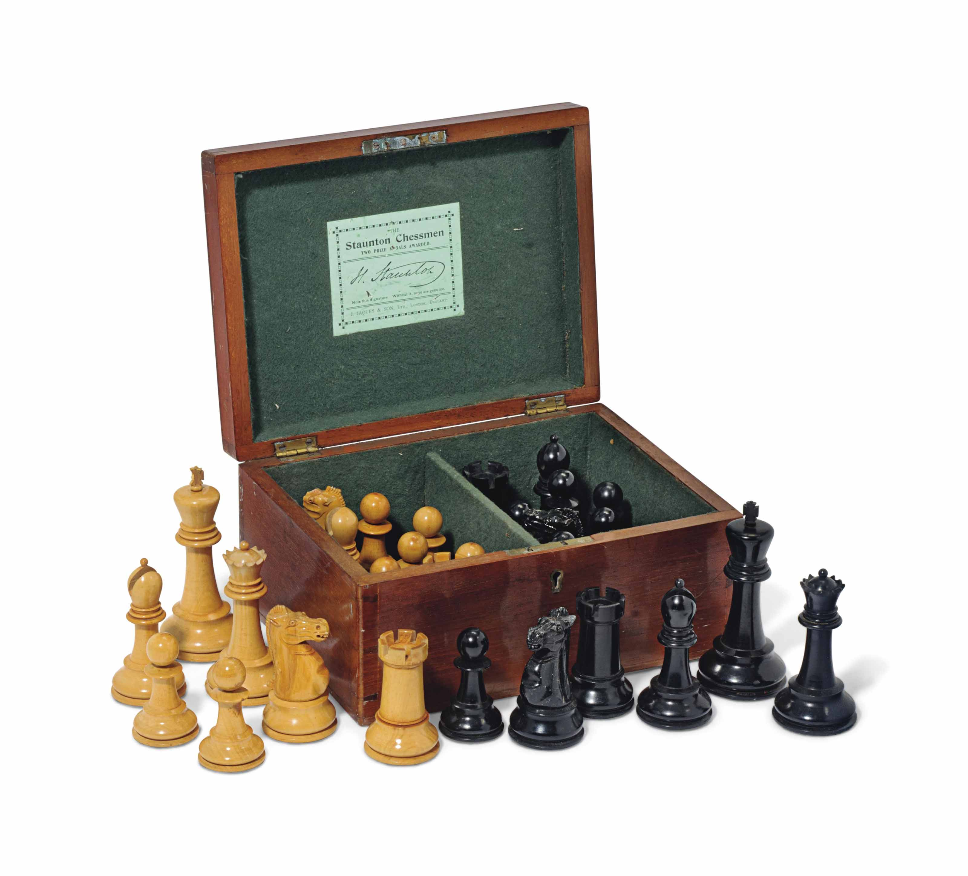 A JAQUES STAUNTON CLUB-SIZE BOXWOOD AND EBONY CHESS SET