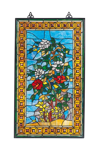 A LEADED GLASS PANEL