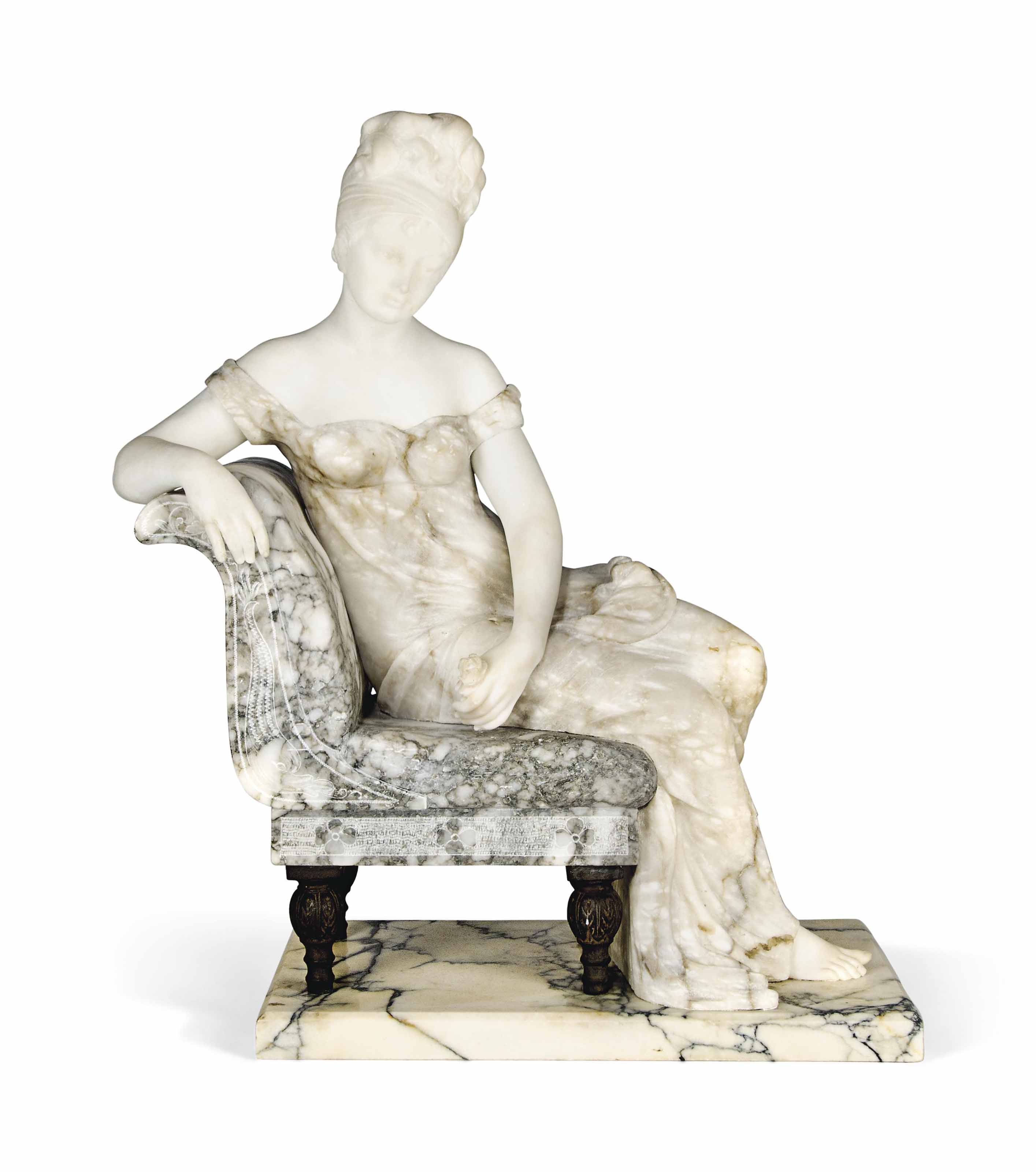 A FRENCH TWO TONE ALABASTER CARVED MODEL OF A SEATED LADY, POSSIBLY MADAME RECAMIER