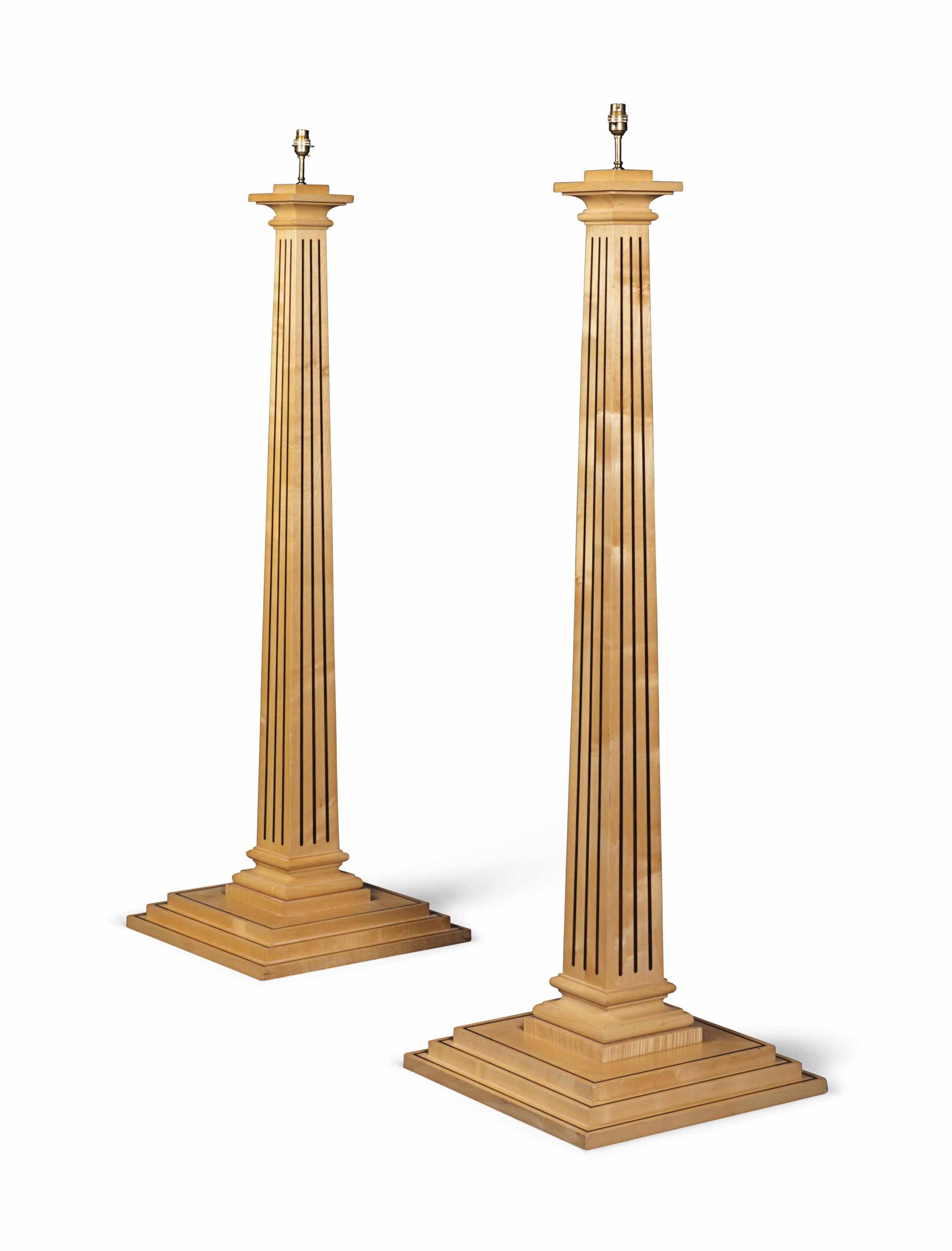 A PAIR OF CALAMANDER-INLAID MAPLE STANDARD LAMPS