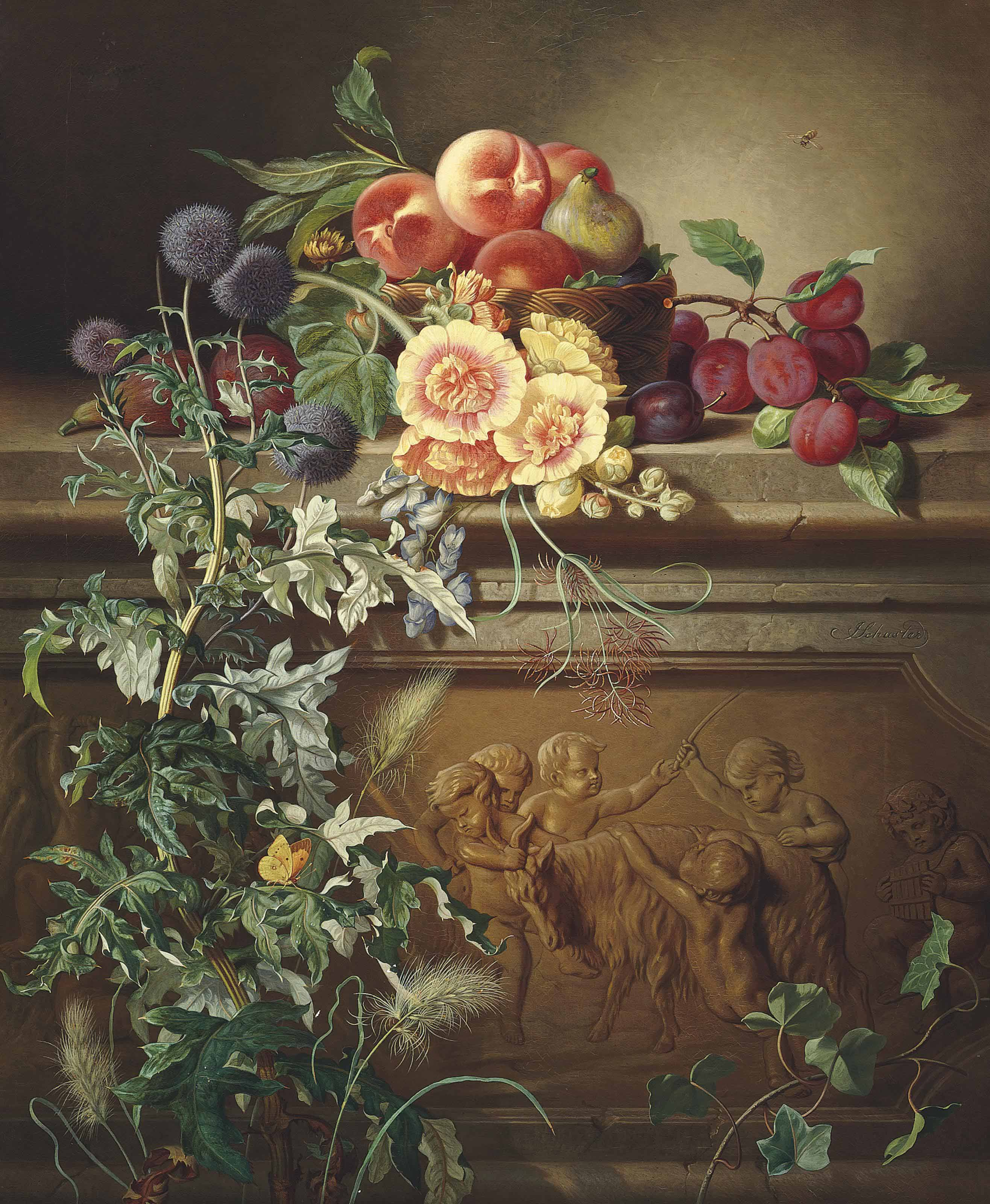 Apples and a fig in a basket, figs and plums on stone ledge decorated with a frieze of putti and a goat, with thistle
