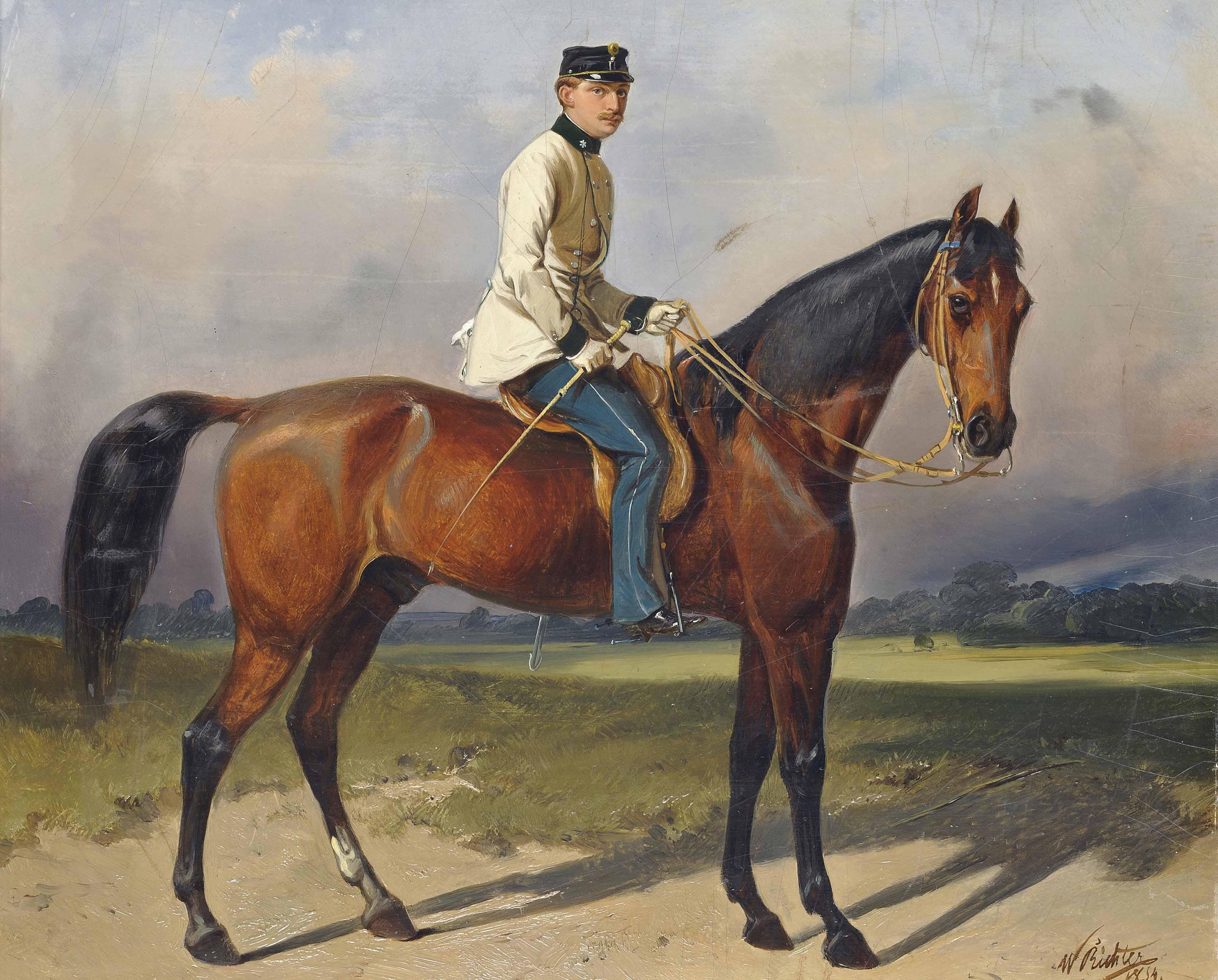 """A mounted officer of Austrian Dragoon Regiment nr.5 """"Landgrafen zu Fürstenberg"""" in undress uniform"""