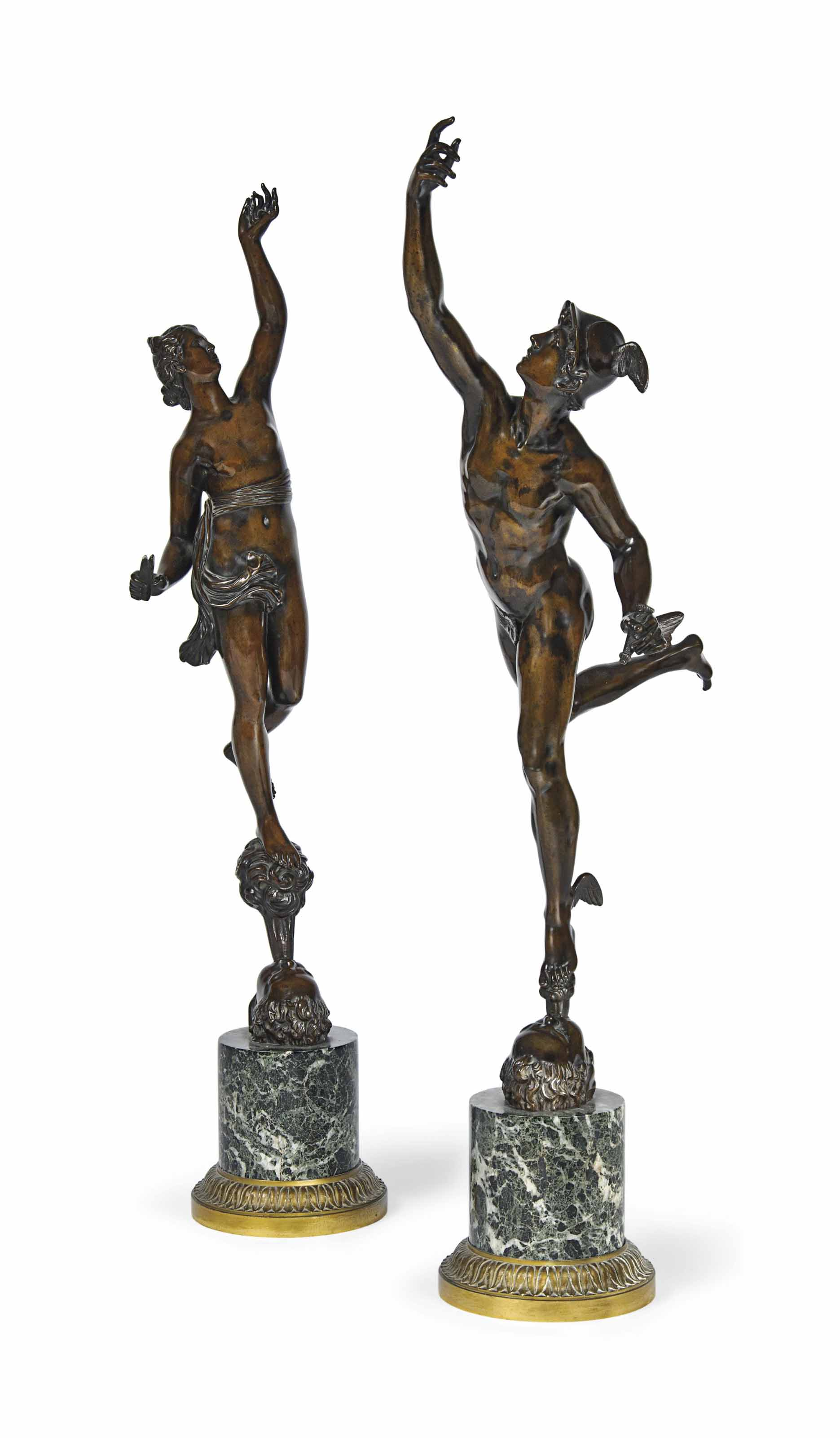 A PAIR OF FRENCH BRONZE FIGURES OF MERCURY AND FORTUNA