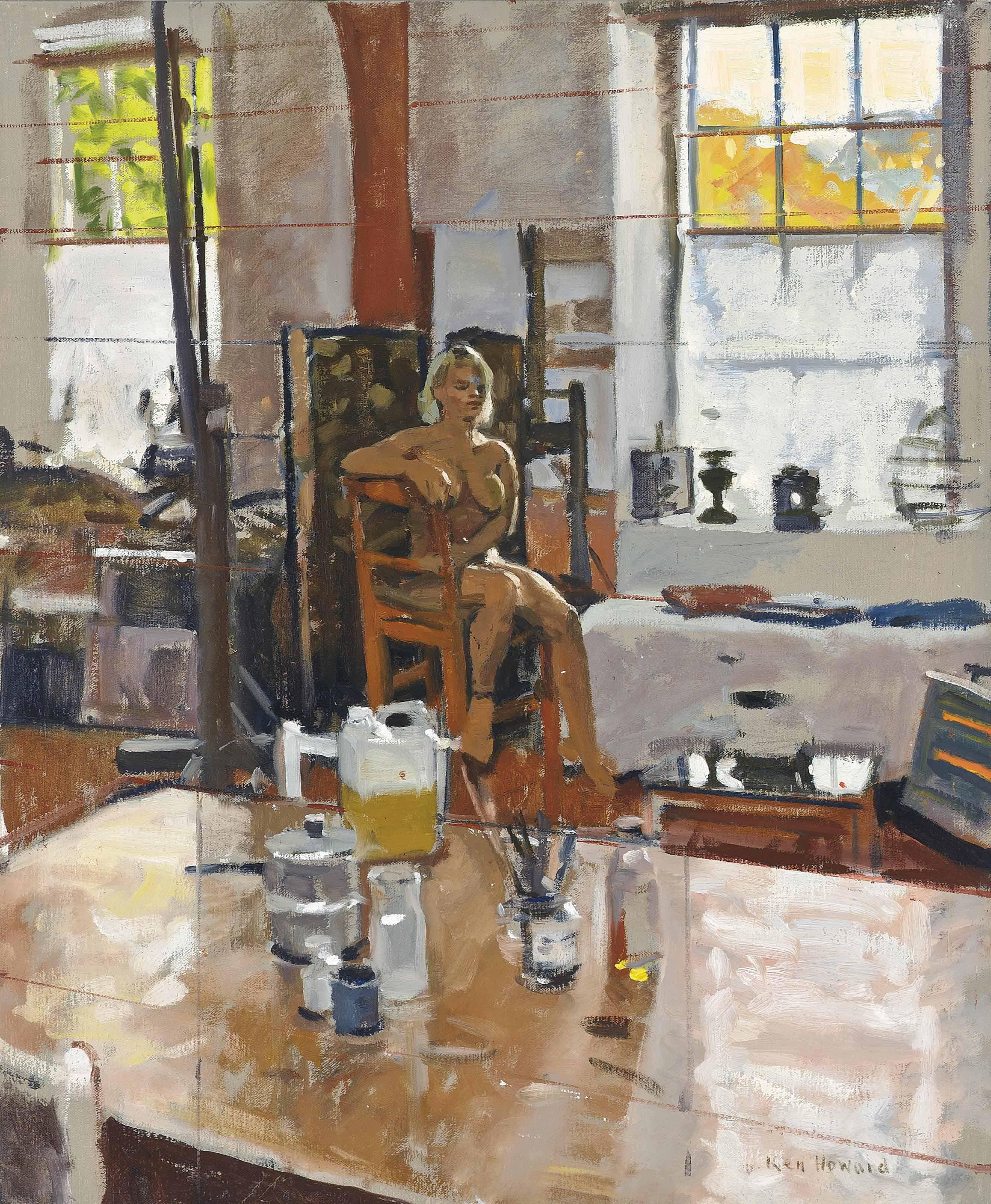 Ken Howard, R.A. (b. 1932) , Seated nude in a studio