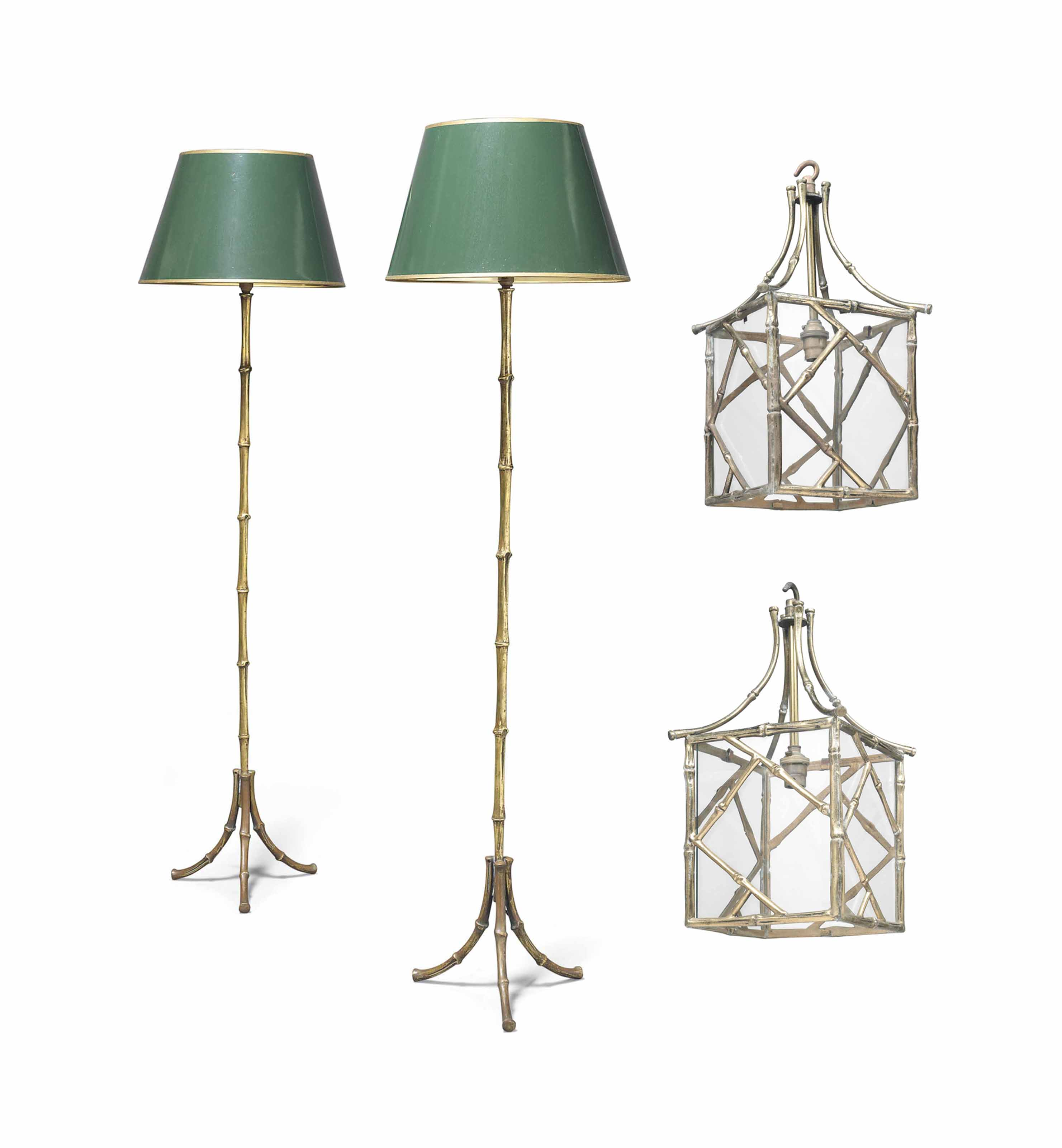 A PAIR OF BRASS FAUX-BAMBOO HA