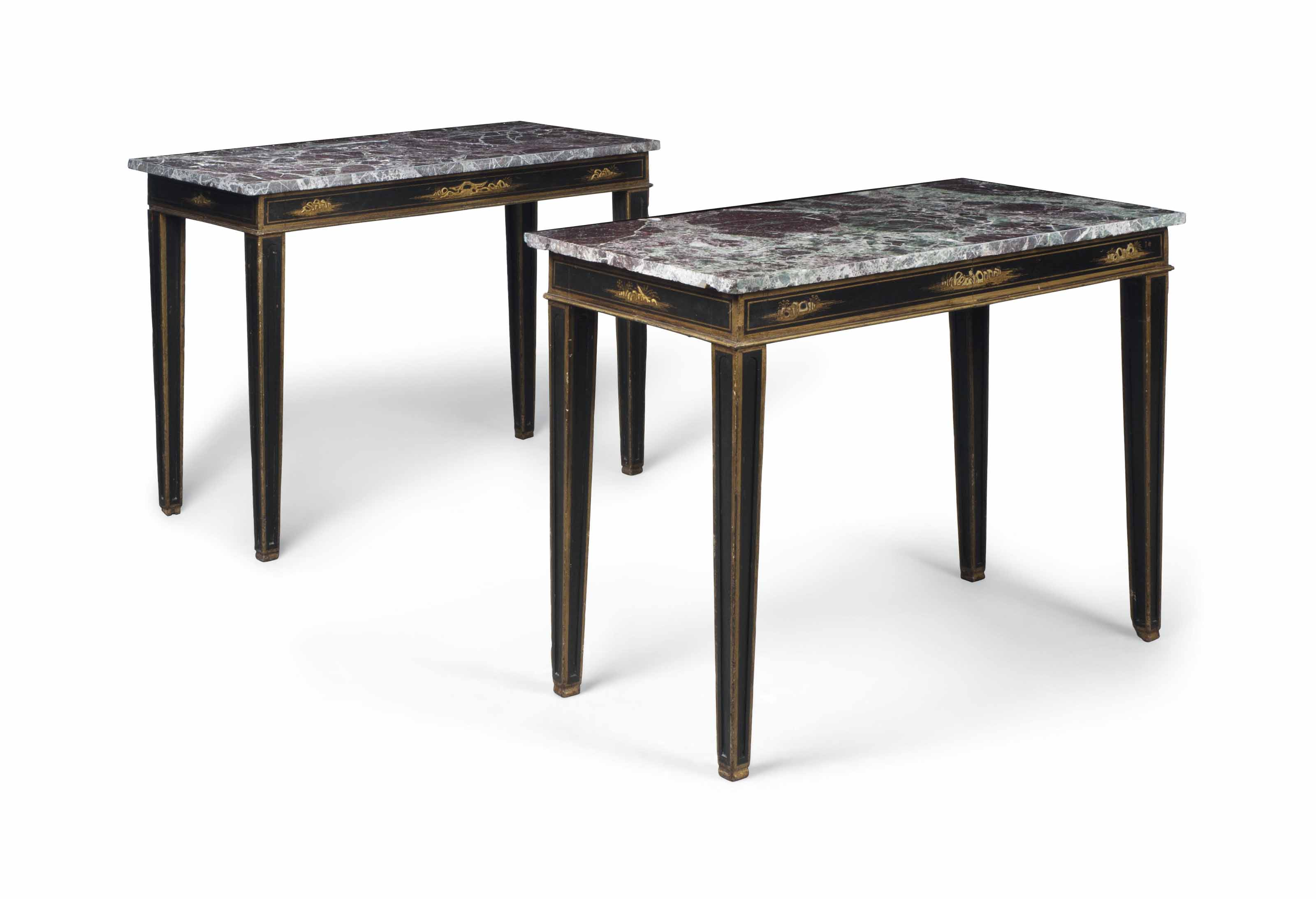 A PAIR OF MARBLE-TOP AND CHINO
