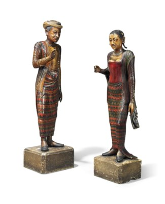 A PAIR OF NORTH INDIAN CARVED