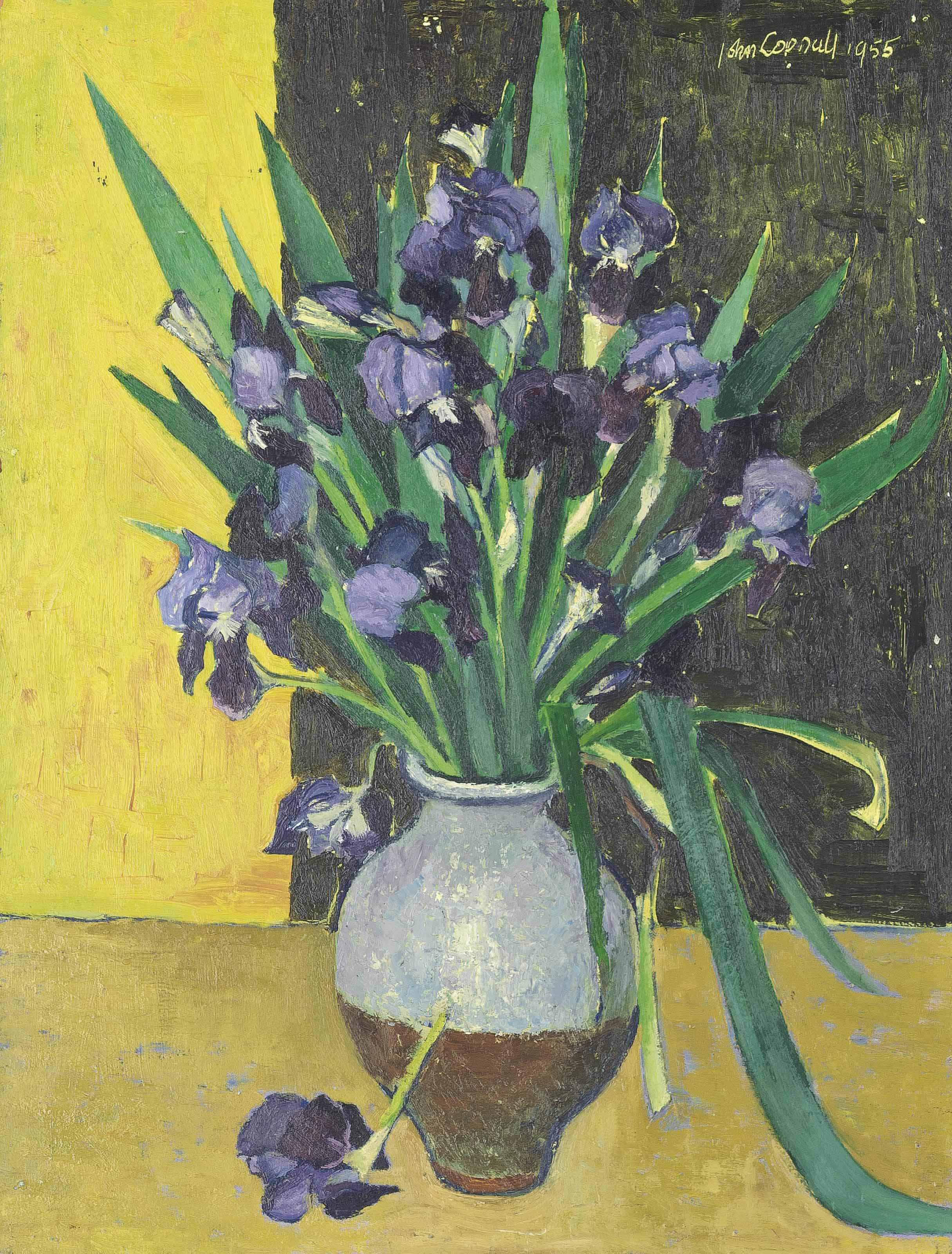 Irises in a Blue Pot