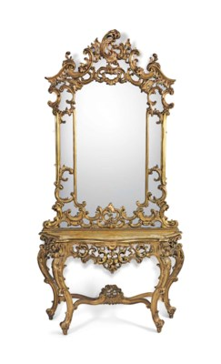 A GILTWOOD SERPENTINE CONSOLE