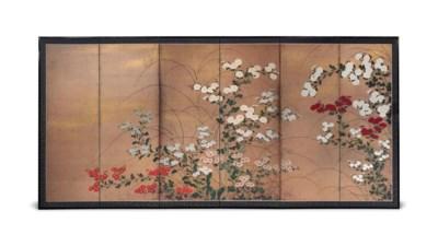 A JAPANESE SIX-FOLD 'CHRYSANTH