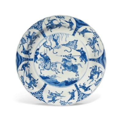 A CHINESE BLUE AND WHITE 'EQUE