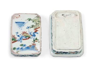 A CHINESE WUCAI INK BOX AND MA