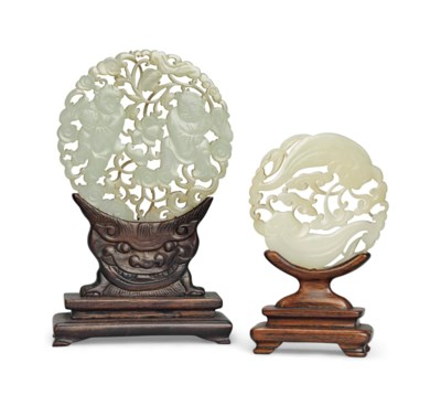 TWO CHINESE PALE CELADON JADE