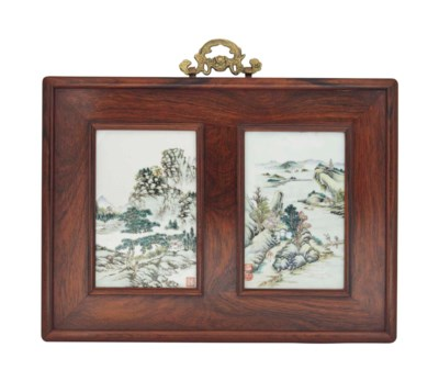 A PAIR OF FRAMED CHINESE 'LAND