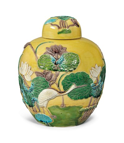 A CHINESE ENAMELLED 'CRANE AND