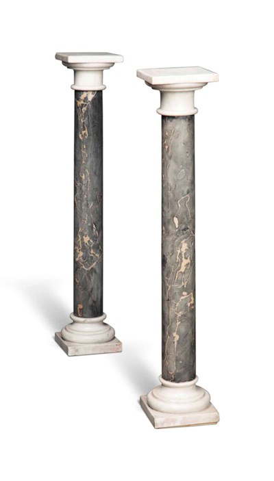 A PAIR OF WHITE MARBLE AND GRE