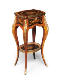 A VICTORIAN ORMOLU-MOUNTED FLORAL MARQUETRY AND TULIPWOOD OCCASIONAL TABLE