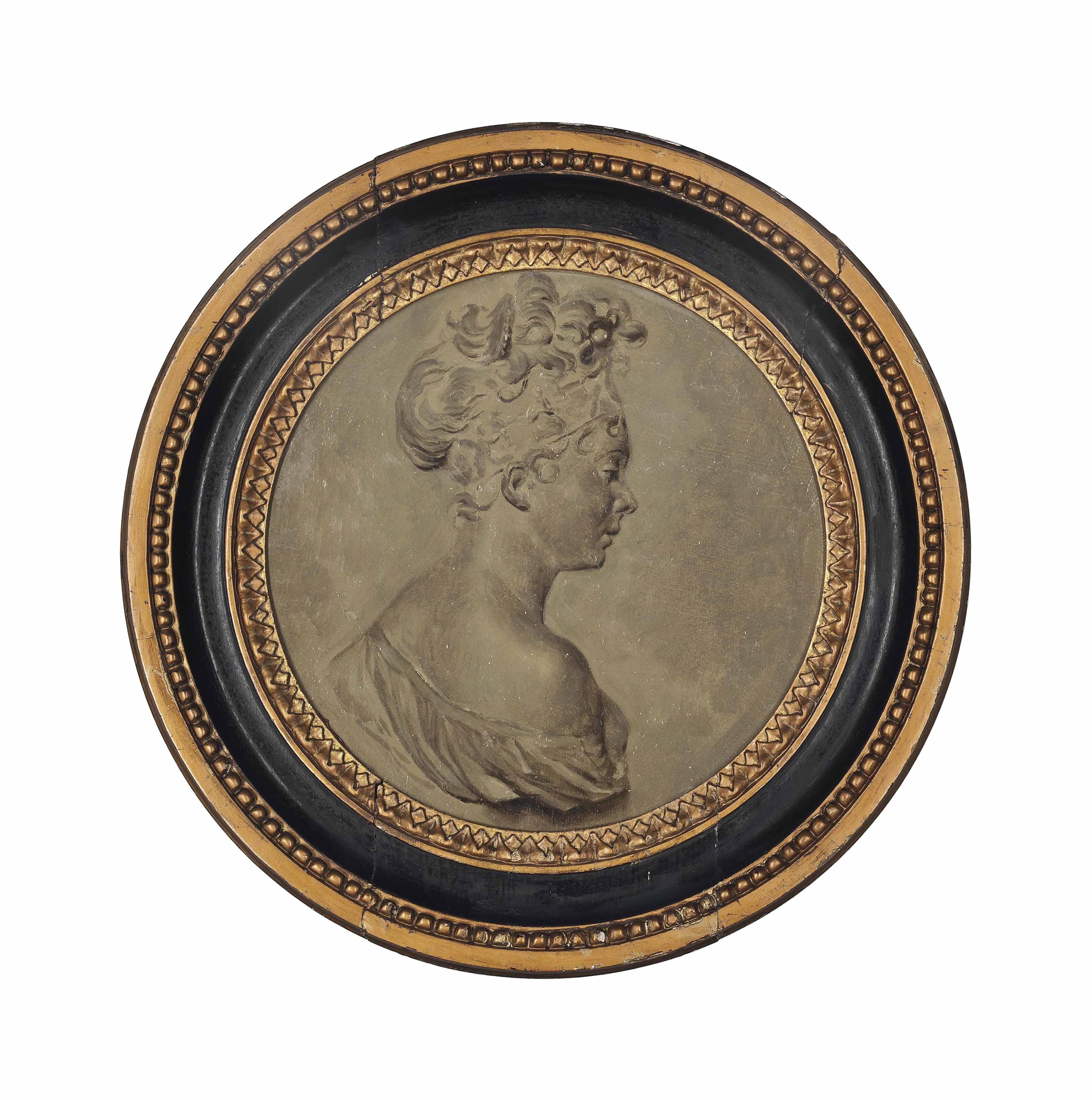 Portrait of Madame Juliette Récamier (1777 - 1849), bust-length, en grisaille, tondo
