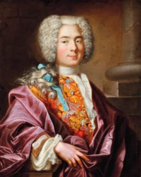 Portrait of Nicolaus Deucher (1702-1783), age 19, three-quarter-length, in an embroidered vest and plum silk cloak