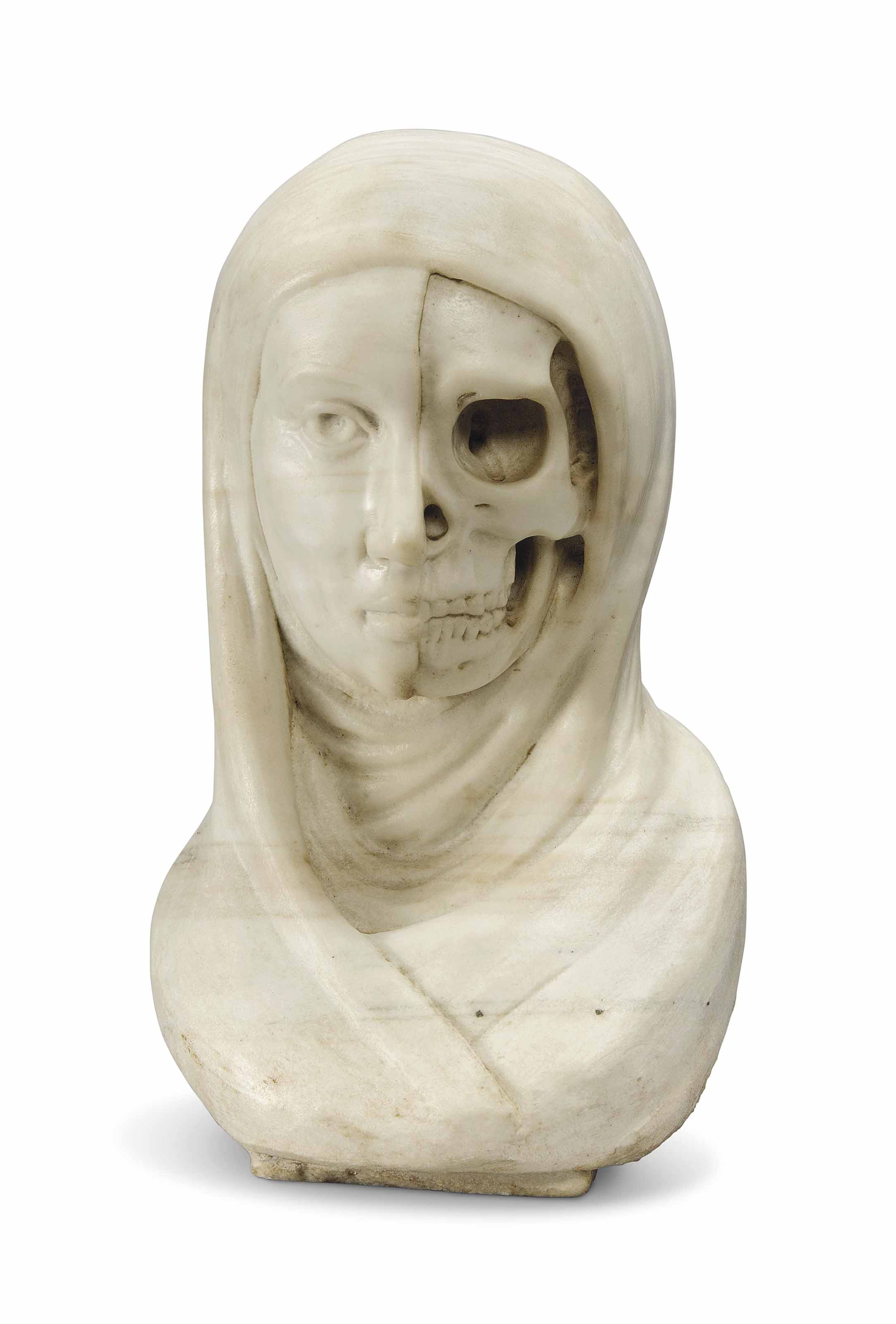 AN ITALIAN CARVED MARBLE 'VANI