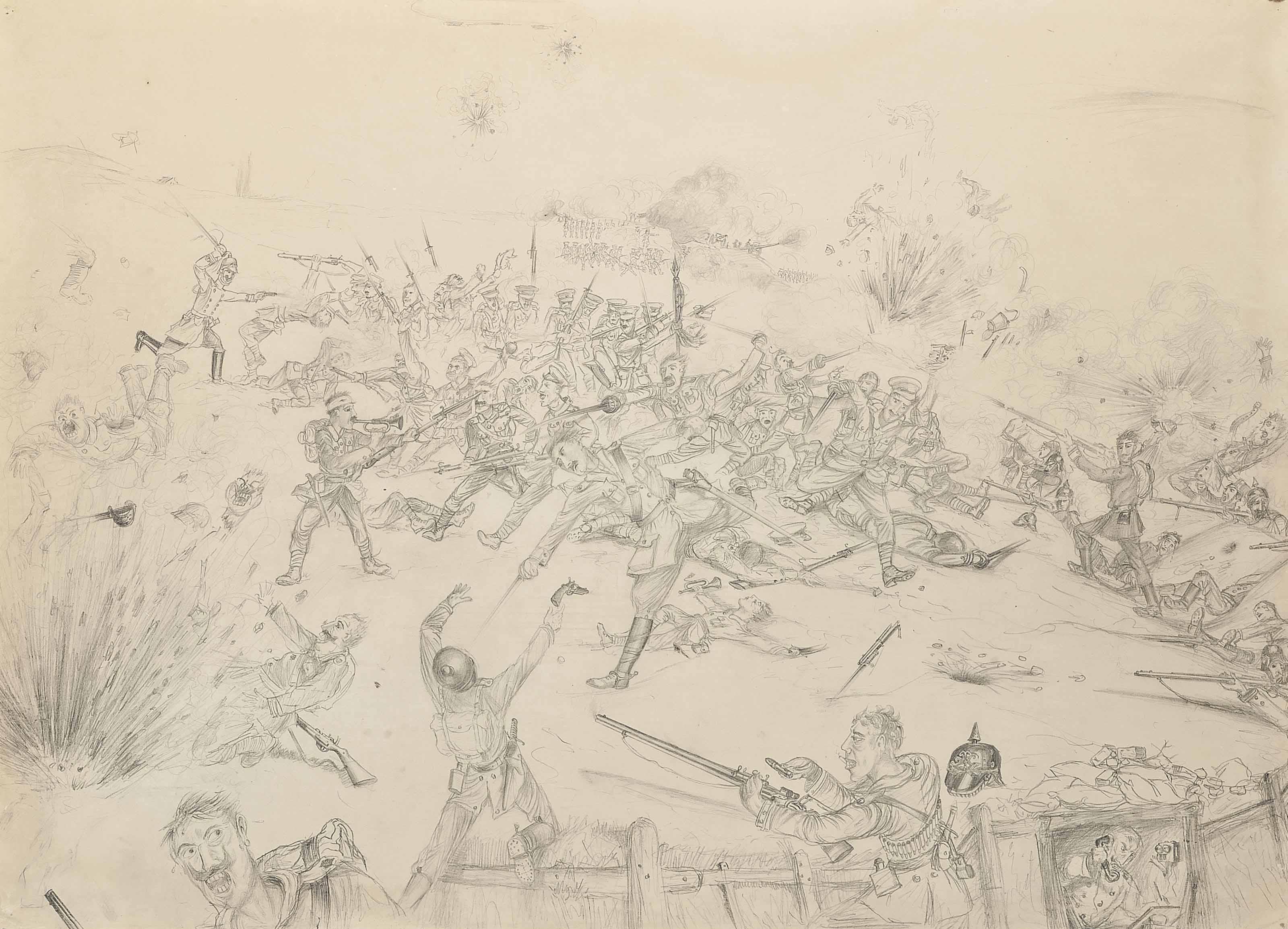 An imagined World War I battle scene