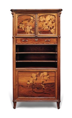 A GALLE WALNUT AND MARQUETRY M