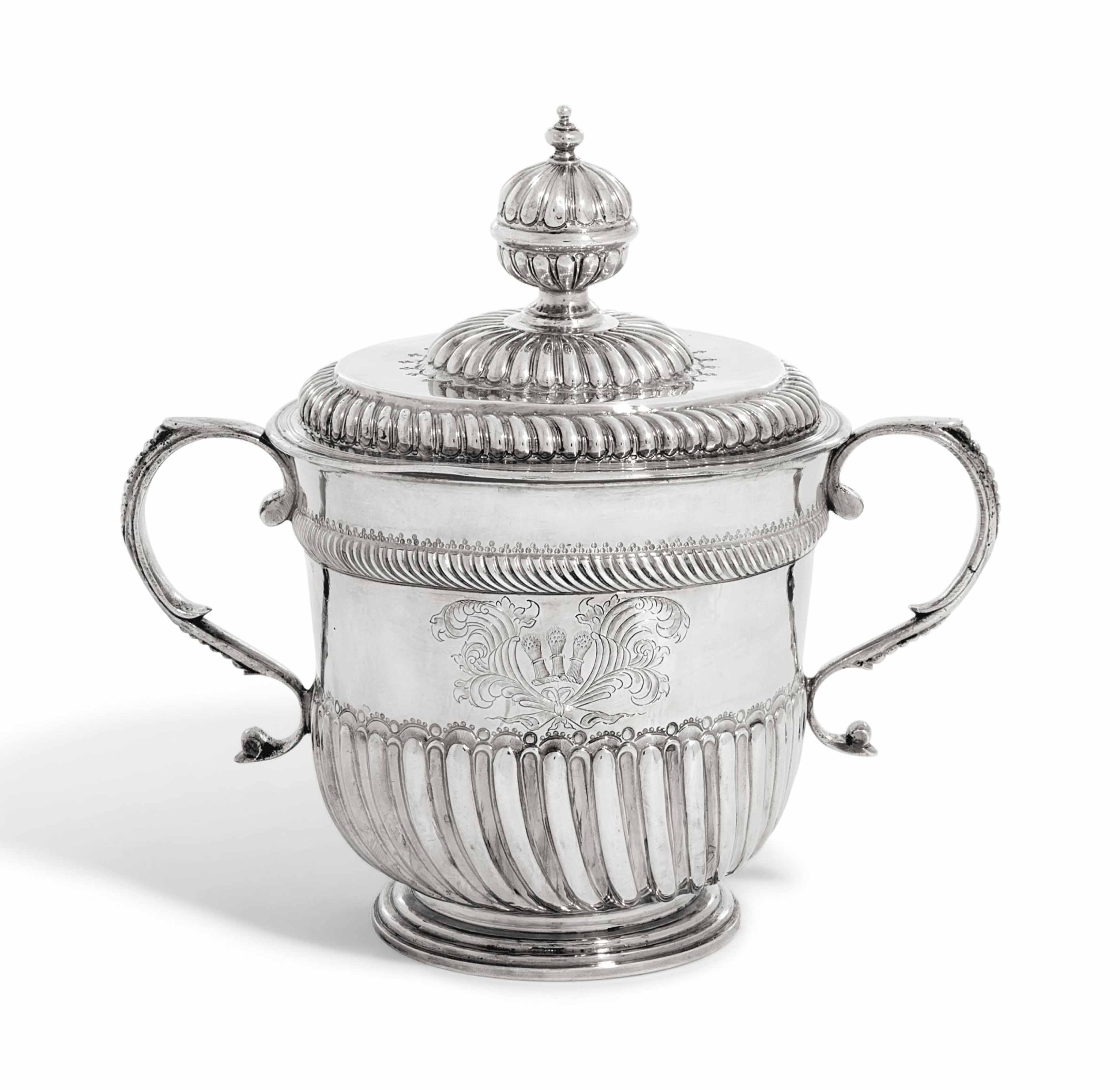 A WILLIAM AND MARY SILVER CUP AND COVER