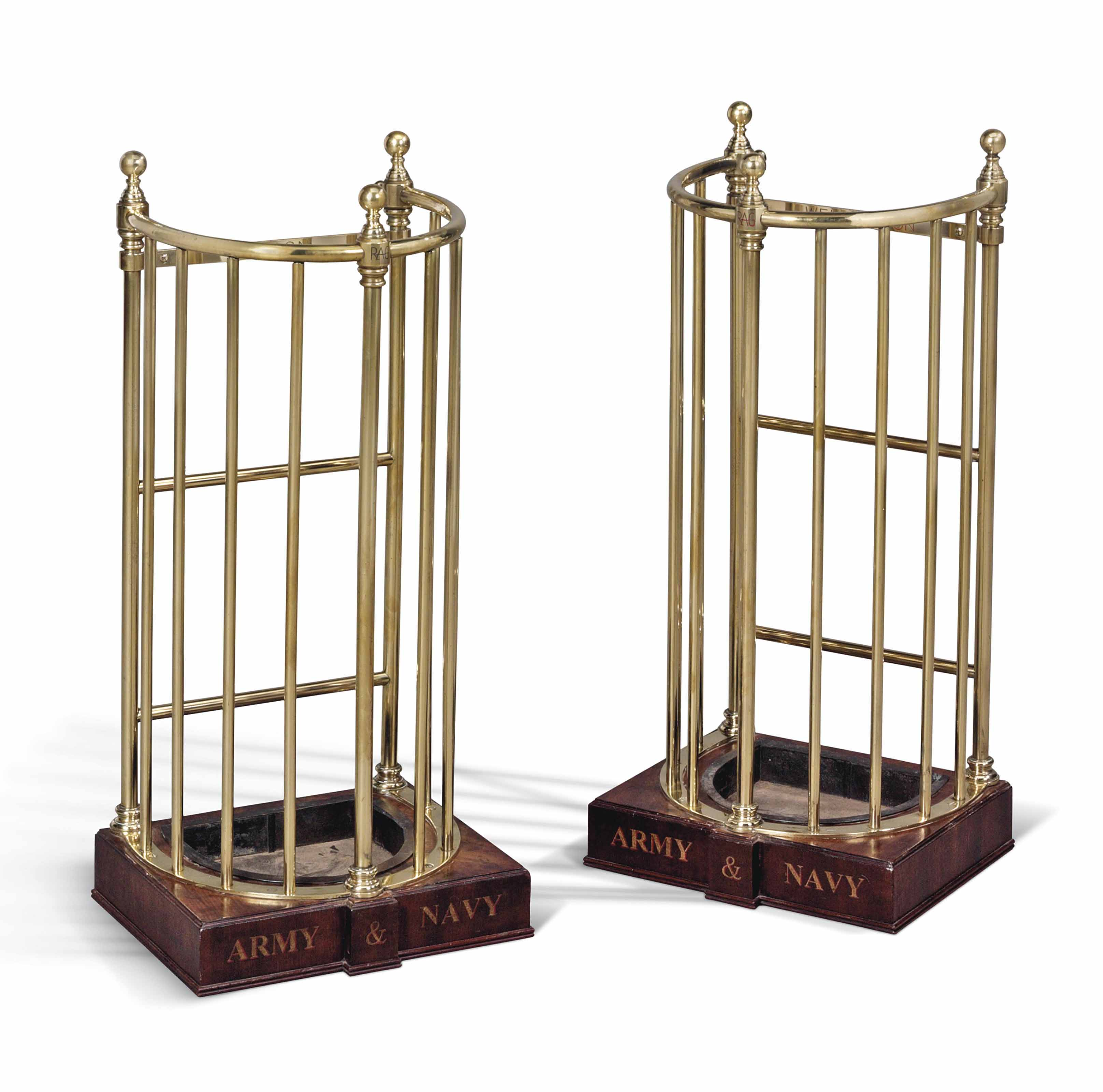 A PAIR OF EDWARDIAN BRASS STIC