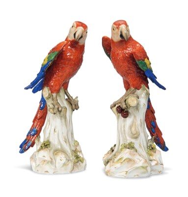 A PAIR OF LARGE MEISSEN MODELS