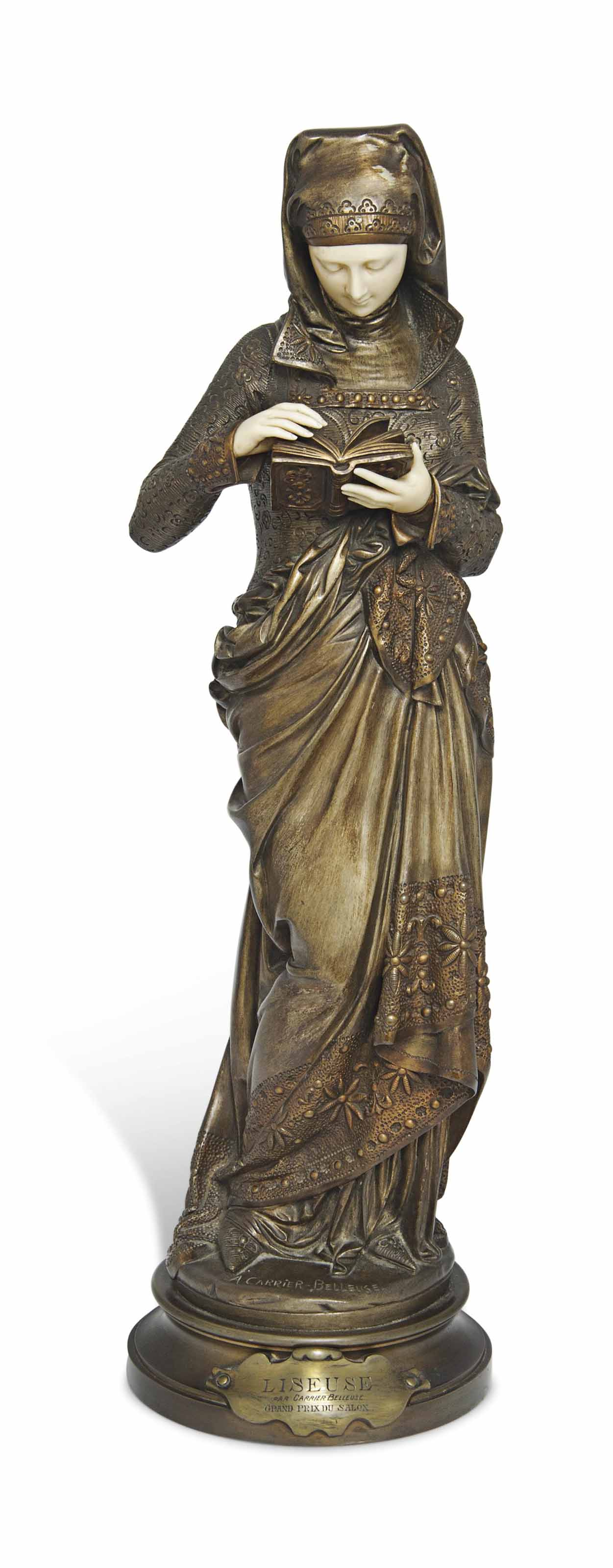 A FRENCH BRONZE AND IVORY FIGU