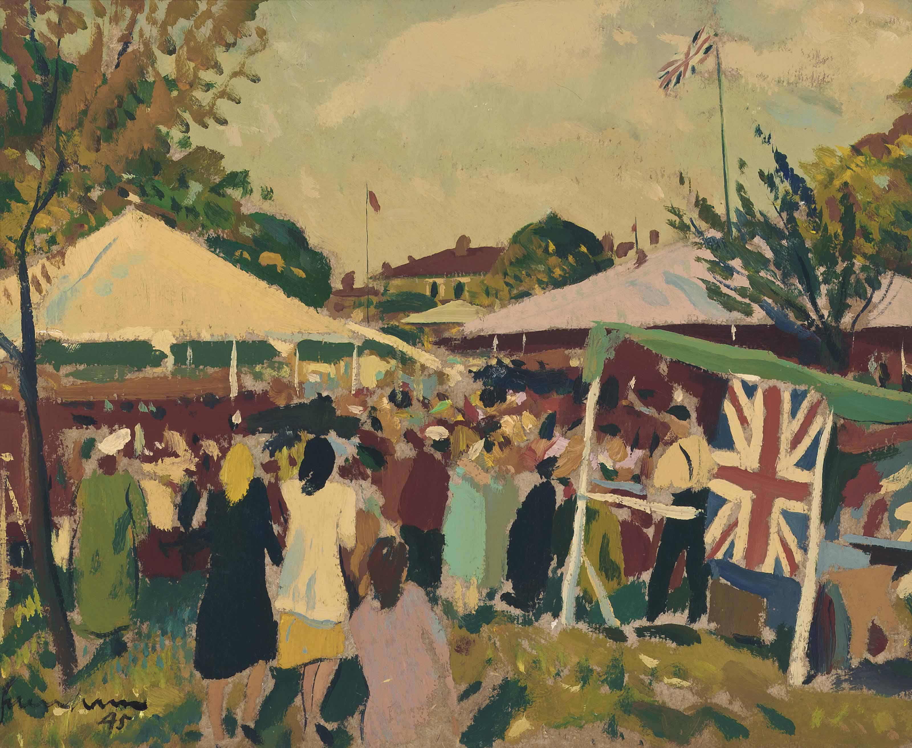Hampstead Fair (recto):and Study of a Barn (verso)