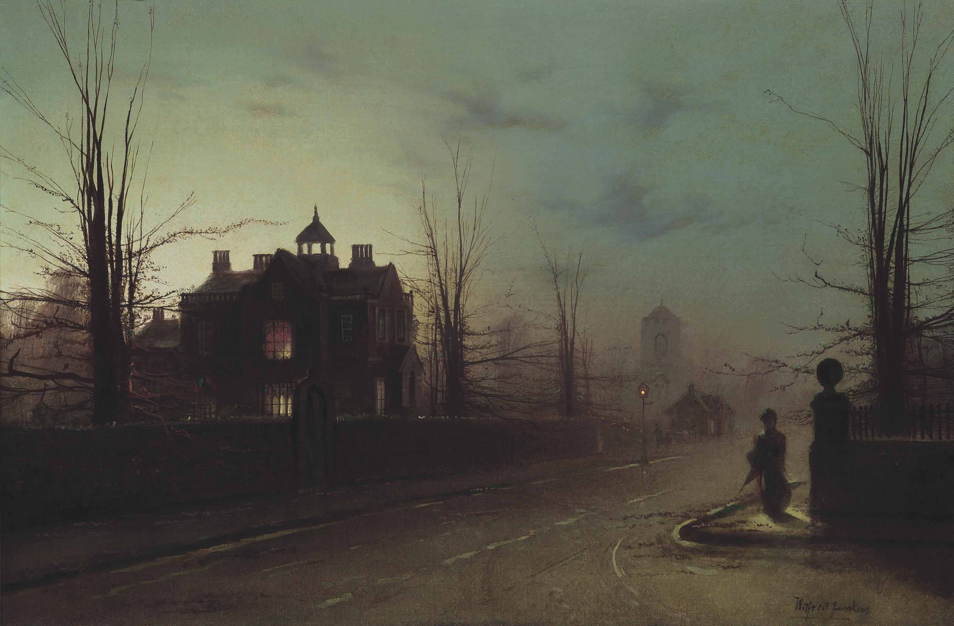 A lady on a street corner, early evening, after rain
