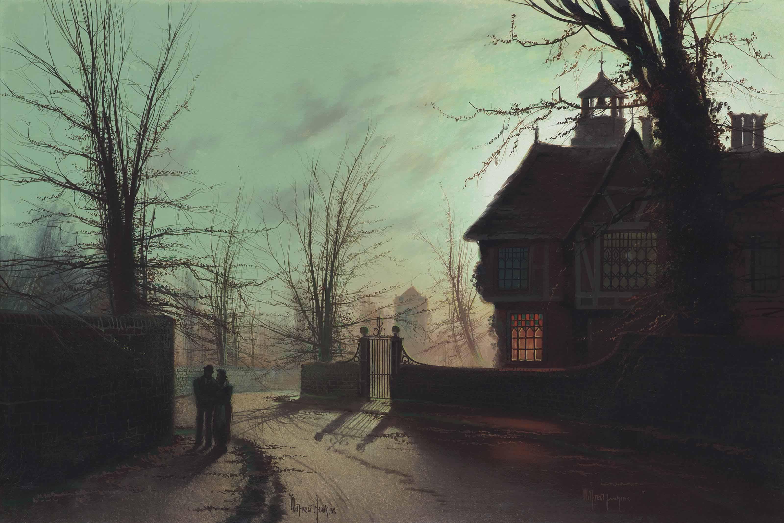 Lovers on a moonlit street