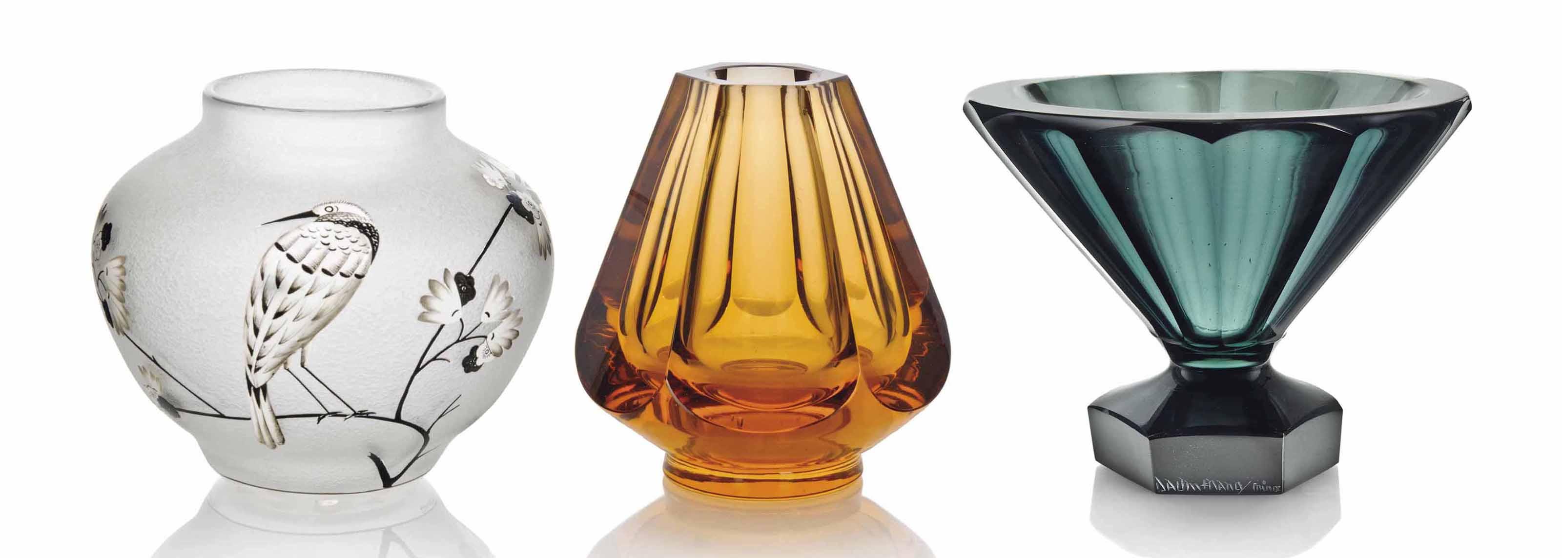 A DAUM ENAMELLED GLASS VASE AN