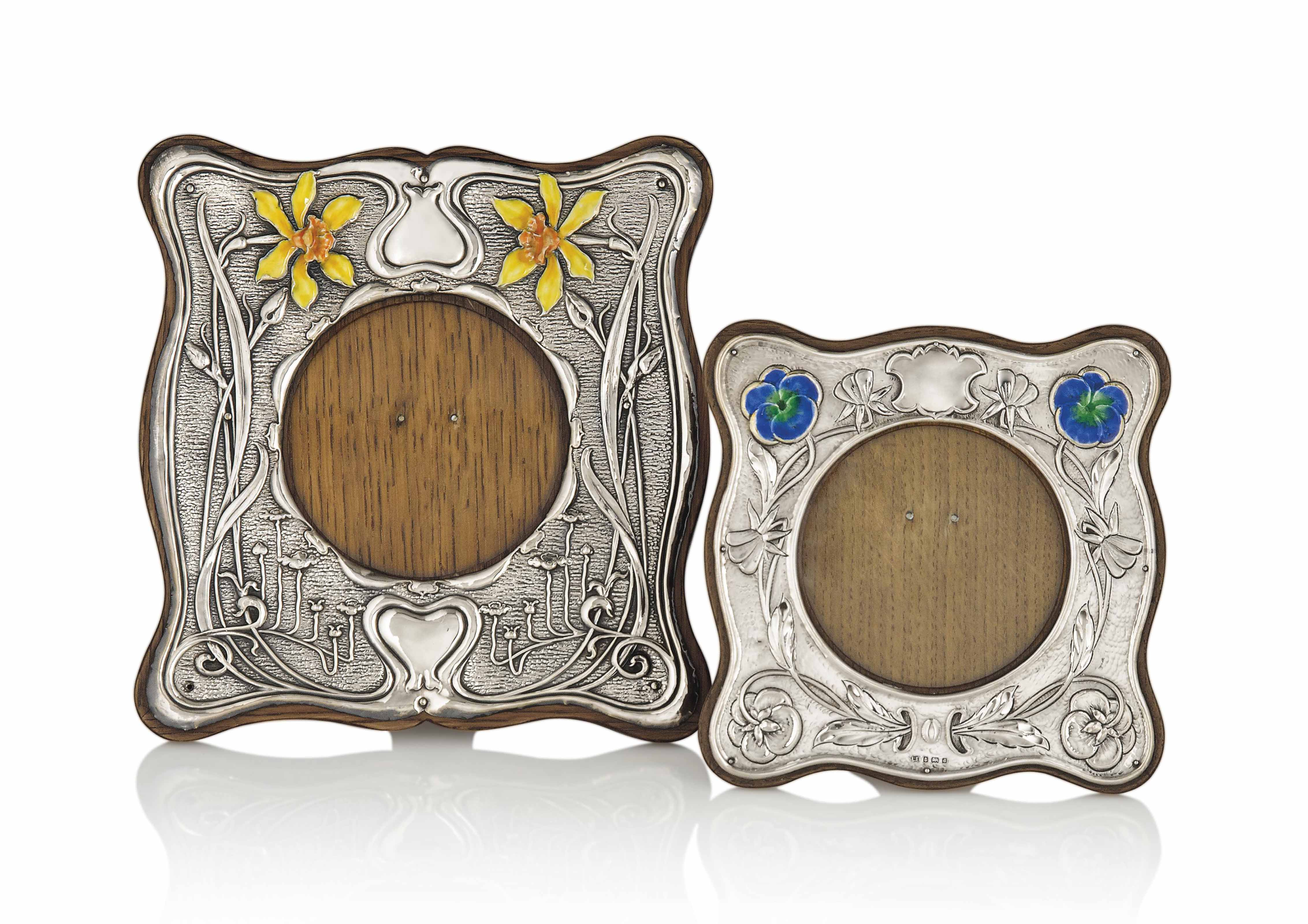 TWO EDWARDIAN SILVER, ENAMEL A