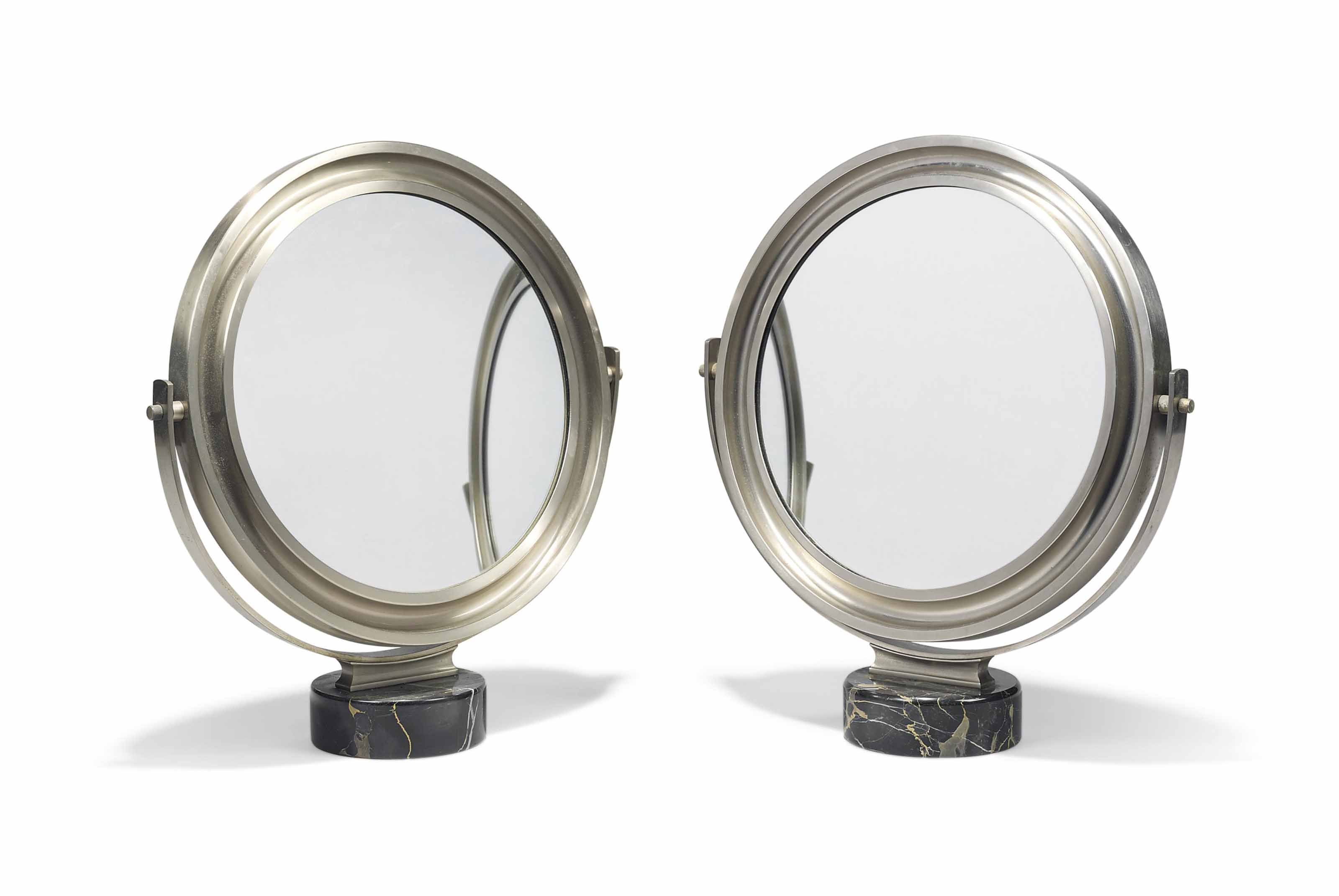 A PAIR OF NICKEL-PLATED MIRROR