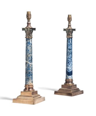 A PAIR OF BLUE MARBLE AND GILT